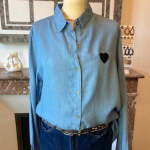 chemise luna jean bleu coeur noir