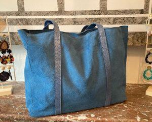 sac cuir bleu jean