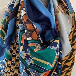foulard couture bleu