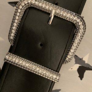 ceinture large argenté et strass