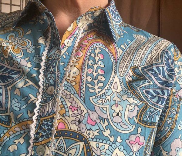 blouse imprimé bleu