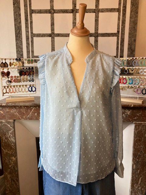 blouse plumetis bleu ciel
