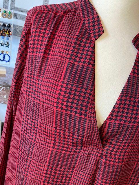 blouse prince de galles rouge