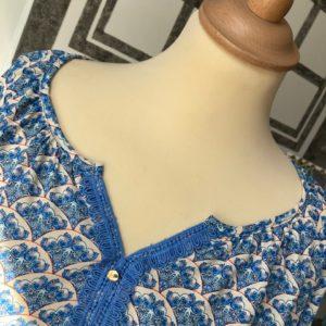 blouse bleu imprimée