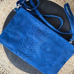pochette python cuir bleue