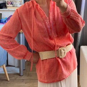 blouse gaze de coton corail
